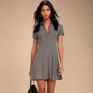 Lulus Daily Delight Grey Button-Up Skater Dress